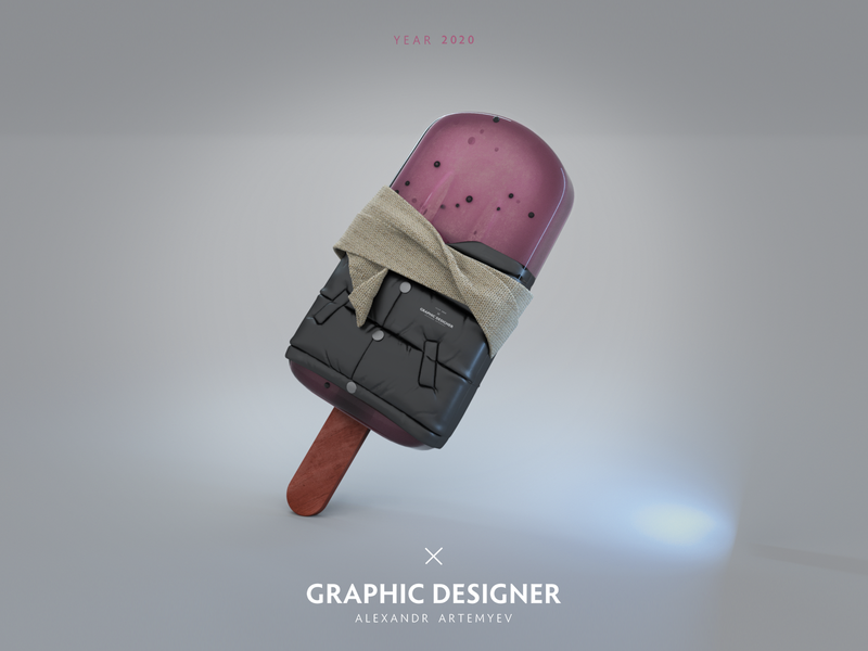 Ice Cream illustration pink octane photoshop fashion cinema design cinema4d c4d 3d icecream