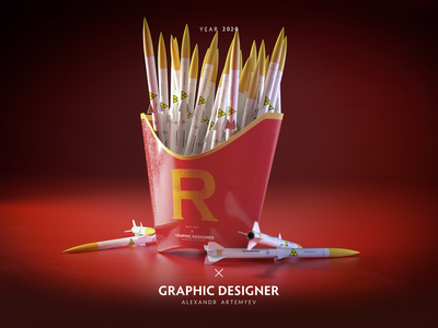 rocket fast food design daily octane wallpaper fashion photoshop red cinema4d c4d 3d fastfood rocket