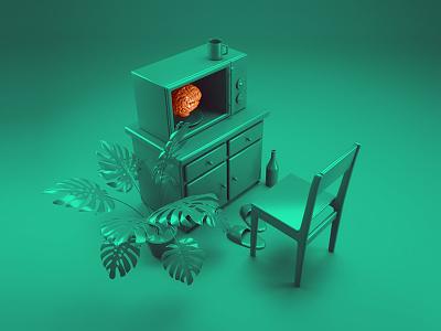 Warming up of the brain render brain green photoshop illustration fashion design daily cinema4d cinema c4d 3d
