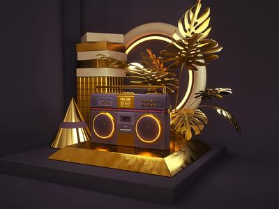 Retro composition - tape recorder