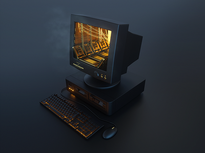 Black retro computer
