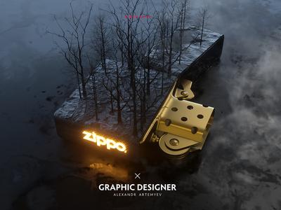 Zippo with trees