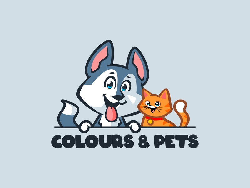 colours and pets mascot design vector illustration characterdesign branding