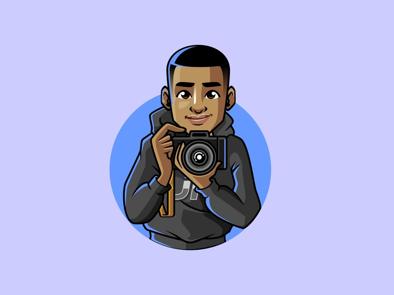 kid with camera mascot design vector illustration characterdesign branding