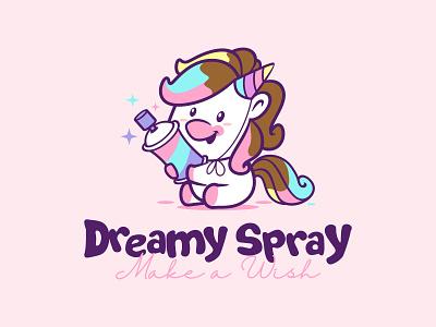 dreamy spray logodesign mascot character pictoftheday mascot design unicorn mascot design illustration vector characterdesign branding