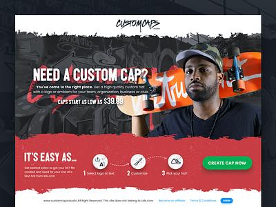Custom Caps Home Page UI texture ui hero homepage