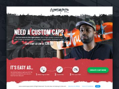 Custom Caps Home Page UI