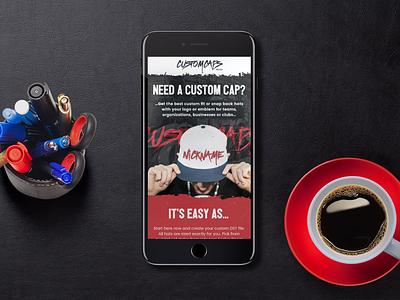 Custom Caps RWD homepage mobile rwd