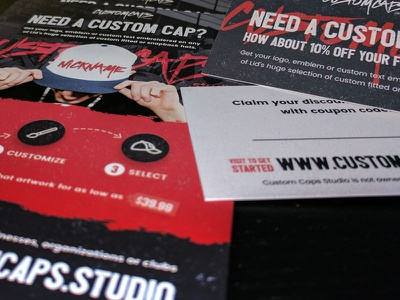 Custom Caps Flyers and Business Cards grunge print business card