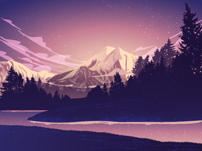 Mountain View purple adventure relax calm clouds peaceful outdoors stars river lake hills trees forest sunrise sunset morning evening minimalist vector mountain