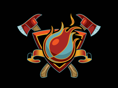Basketball Flame Logo graphic design sports banner firestation firehouse fire firefighter axe vector shield logo flame basketball