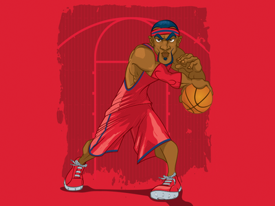 Dynamic Basketball Player on Red stockart determined serious ball court athlete sports pose dynamic player basketball vector