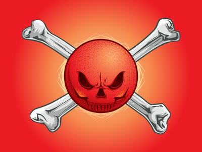 Dodgeball Skull and Crossbones mascot logo design graphic vector tough playground sports ball red pirate skull crossbones bones dodgeball kickball