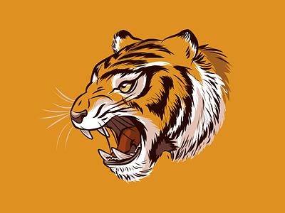 Tiger Head sherekhan roar teeth orange stripes growl angry stockart vector head tiger