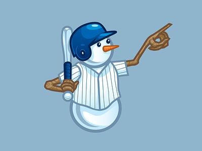 Baseball Snowman homerun icon cute mascot carrot sticks jersey helmet snow bat sports snowman baseball