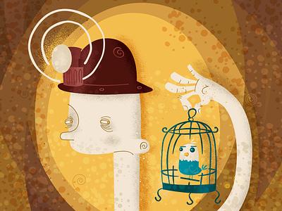Coal Miner with Bird Cage helmet lamp dark mine birdcage canary miner coal