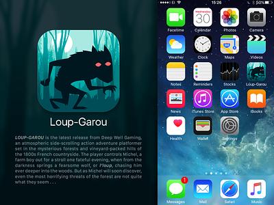 DailyUi 005, App Icon loupgarou apple ios appicon icon werewolf sidescrolling platformer gaming vector uidesign uxui ux ui dailyui