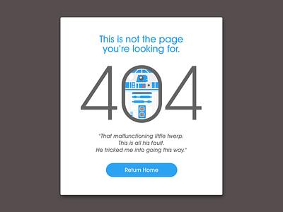 "Daily UI, 008 ""404 Page"" droid amusing fun starwars rd2d error 404page 404 ux ui dailyui"