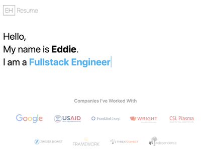 Resume website ui web typography