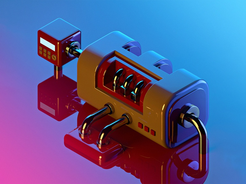 Pump thing🤷‍♂️ factory conveyor neon technology cyberpunk cyber mechanic mech hardsurface blender lowpoly isometric 3d motiongraphics inspiration digitalart design illustration