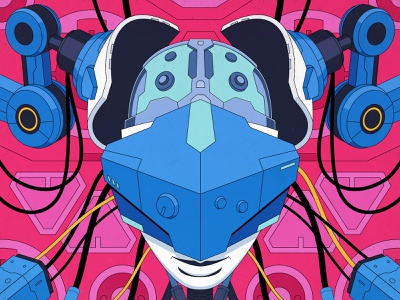 Cyberpunk - Head fabricating hardsurface helmet brain head woman technology android robot cyberpunk 2d flat illustrator motiongraphics inspiration digitalart design illustration