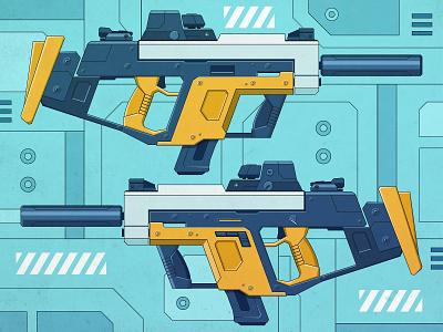 Cyberpunk - Submachine gun 01 futuristic sci-fi gun concept submachine gun weapon cyberpunk hardsurface 2d photoshop flat art illustrator inspiration digitalart design illustration