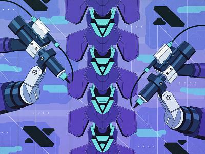 Cyberpunk - Spine fabricating technology hologram android robot cyberpunk hardsurface 2d flat art illustrator motiongraphics inspiration digitalart design illustration