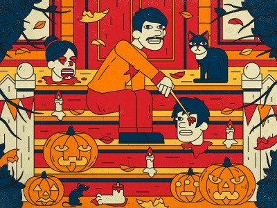 Halloween party 🎃 rat autumn leaves porch corpse punpkin party halloween cat character 2d flat art illustrator inspiration digitalart design illustration
