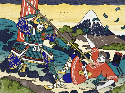 Nintendo price increases switch russian samus samurai price ukiyo-e japan zelda pokemon mario nintendo 2d flat art illustrator motiongraphics inspiration digitalart design illustration