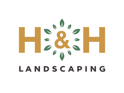 H&H Landscaping typeface thick ampersand irrigation design logo landscaping lawn care lawn