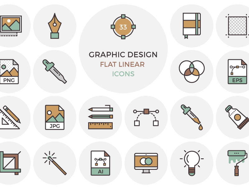 33 Flat Graphic Design Icons By Inspirationfeed