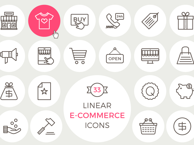 33 Free Linear E Commerce Icons ai eps svg linear pack freebie set shopping ecommerce psd icons free