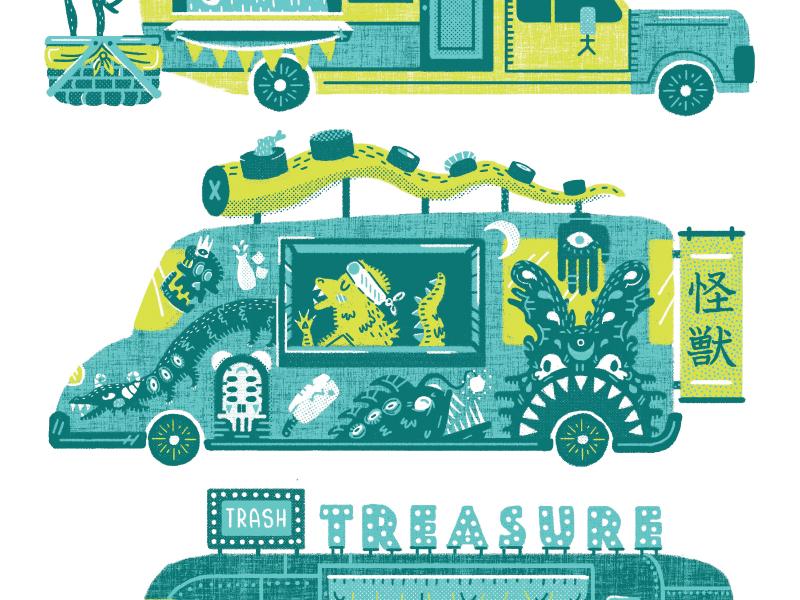 Food Truck Concepts sushi godzilla illustration graffiti food trailer austin food truck screen print screenprint