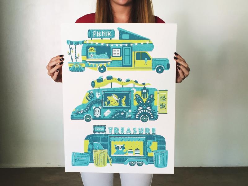 Food Truck Concepts illustration hipster bear raccoon graffiti godzilla sushi food trailer food truck texas austin afterhoursatx