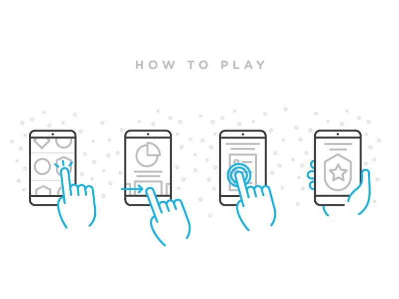 Simple Game Tutorial vector line icon icon game walkthrough touch screen touch onboarding gestures gesture walkthrough tutorial game
