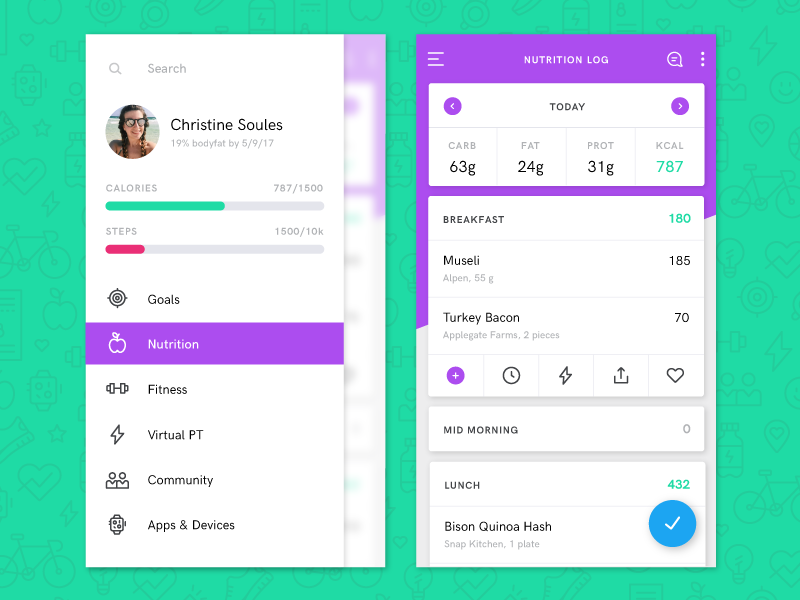 nutriton tracker redesign by christine soules dribbble dribbble