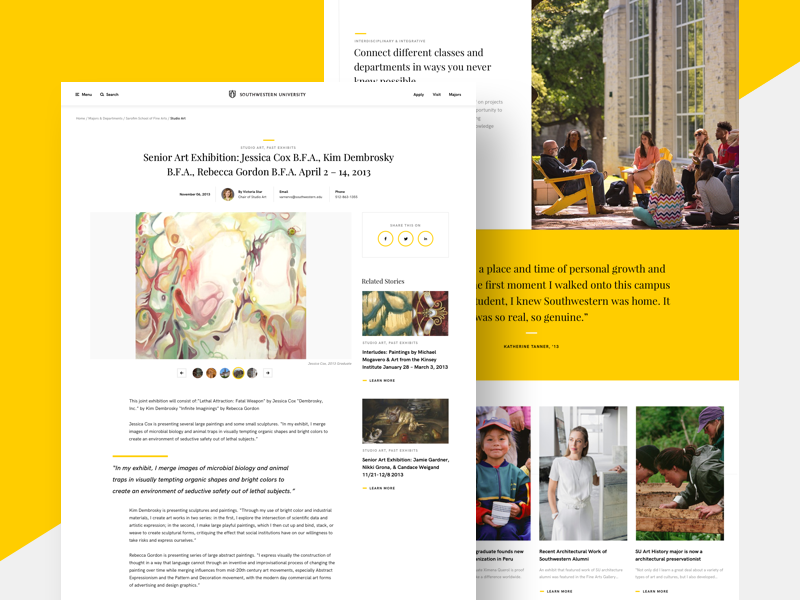 Southwestern University college yellow template academic school blogger gallery blog web design university