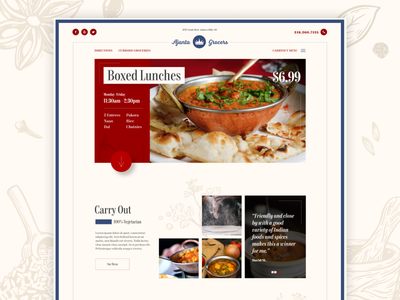 Indian Grocer / Carry Out grocery store restaurant responsive website branding ui design wordpress web design