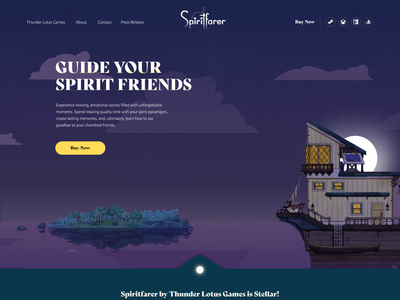 Spiritfarer Dark thunder lotus video game design concept web design