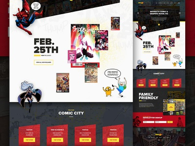 Comic Book Website detroit michigan comics comic book website wordpress html5 css3 web design spiderman adventure time x-men