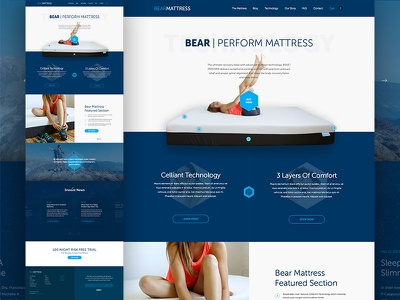 Bear Mattress Technology Homepage web design website e-commerce ecommerce shopify responsive html5 css3 mattress store