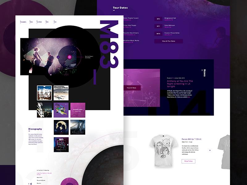 M83 Web Concept m83 grid shopify ecommerce music html5 css3 wordpress website web design