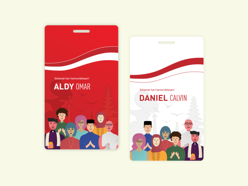 Independence Day Committee ID Card independence day illustrator indonesia vector people character illustration graphic design design id card