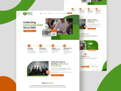 Collection Agency flat ui web design typography branding home page design uidesign webdesign psd design