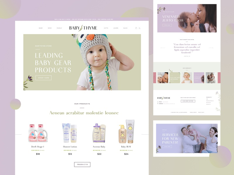 baby time wordpress development elementer pro elementer pro wordpress flat typography home page design psd design landing page branding webdesign