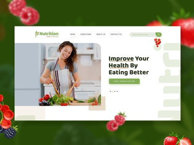 Nutrition Website Home page cover layout website fitness health web design ui