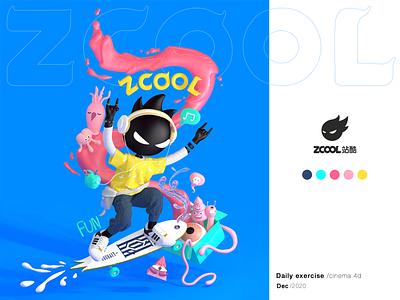 Hi~ Skater Boy , zcool ! c4d design 3d art colorful