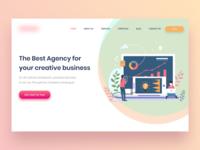 Landing page design of Modern Digital Agency Company.