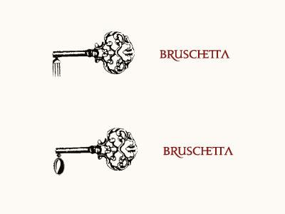 Bruschetta variations logo logotype serif restaurant