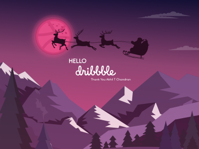 Hello Dribble dribbble best shot dribbble ball dribbble forest pine hills december santa claus christmas minimal logo lettering flat animation vector typography ui design illustration